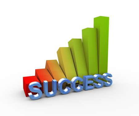 growing success: 3d illustration of rising growing success progress bars Stock Photo