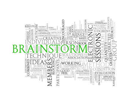 brainstorm: Illustration of wordcloud word tags of concept of brainstorm