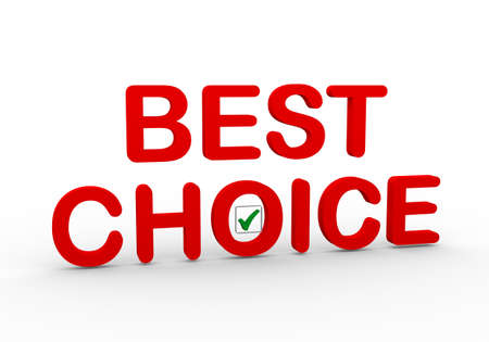 better price: 3d illustration of text best choice with right tick check mark box Stock Photo