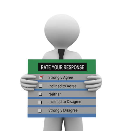 response: 3d illustration of man holding rate your response survey form.  3d human person character and white people