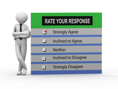 response: 3d illustration of man standing with rate your response survey form.  3d human person character and white people