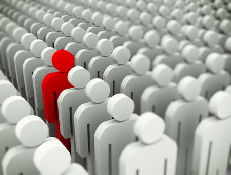standing out: 3d illustration of unique special man standing out of crowd