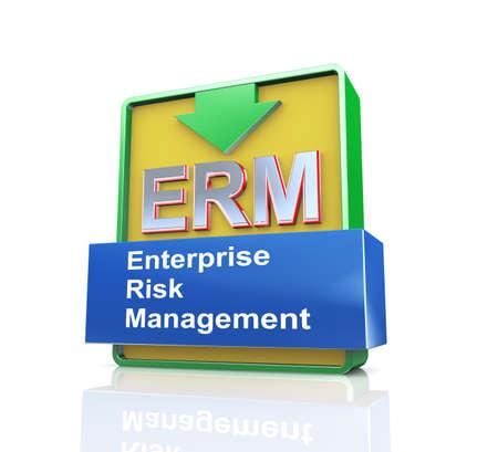 erm: 3d design illustration presentation of arrow banner of erm - enterprise risk management