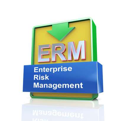 3d design illustration presentation of arrow banner of erm - enterprise risk management
