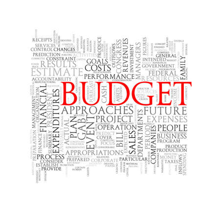 estimate: Illustration of wordcloud word tags of concept of budget Stock Photo