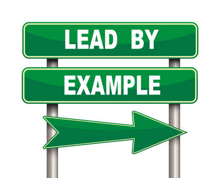 career coach: Illustration of green arrow and road sign of lead by example concept Stock Photo