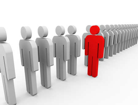standout: 3d Illustration of red unique man standing out from list. unique and stand out of crowd concept