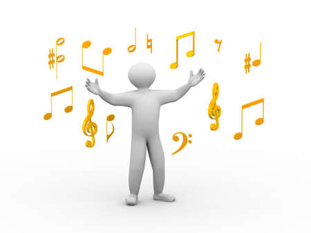 sing: 3d illustration of happy singing man with wide open hand standing between music note symbols. 3d human person character and white people