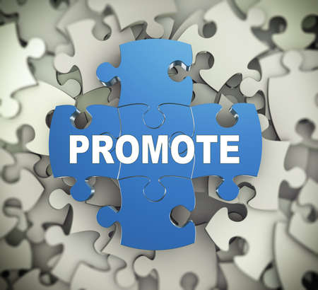 promote: 3d illustration of attached jigsaw puzzle pieces word promote presentation on background of heap of puzzle pieces