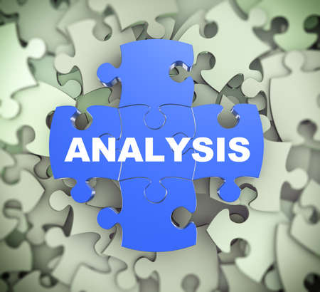 attached: 3d illustration of attached jigsaw puzzle pieces word analysis presentation on background of heap of puzzle pieces