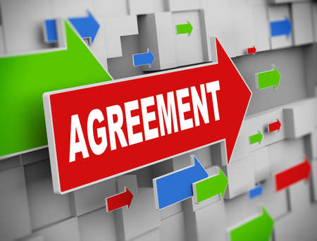 technology agreement: 3d illustration of moving arrow of agreement on abstract wall background Stock Photo