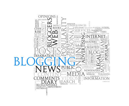 weblog: Illustration of wordcloud word tags of concept of blogging Stock Photo