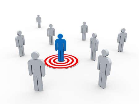 3D-Darstellung der Mann auf Ziel aus einer Gruppe von Menschen. Konzept der Targeting Käufer