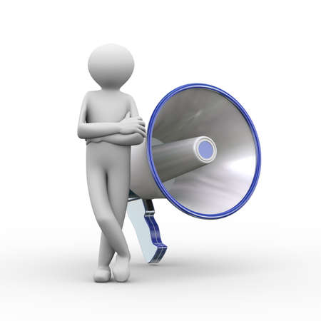 mega phone: 3d illustration of man standing with large megaphone. 3d human person character and white people Stock Photo