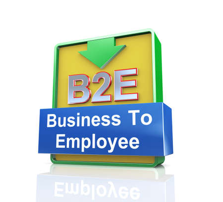 b2e: 3d design illustration presentation of arrow banner of b2e business to employee