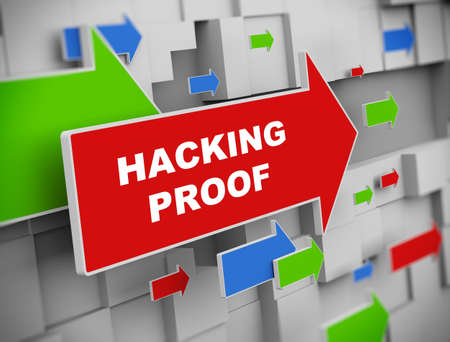 theft proof: 3d illustration of moving arrow of hacking proof on abstract wall background