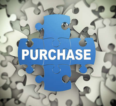 procure: 3d illustration of attached jigsaw puzzle pieces word purchase presentation on background of heap of puzzle pieces