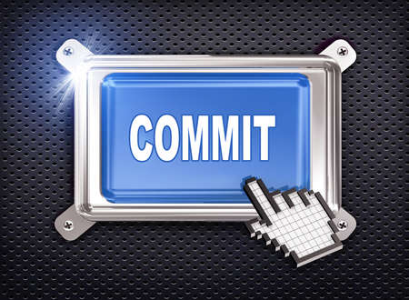 commit: 3d illustration of hand cursor pointer and chrome button presentation of concept of commit Stock Photo