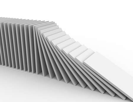 domino effect: 3d illustration of object falling in the line of domino