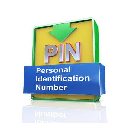 stored: 3d design illustration presentation of arrow banner of pin - personal identification number