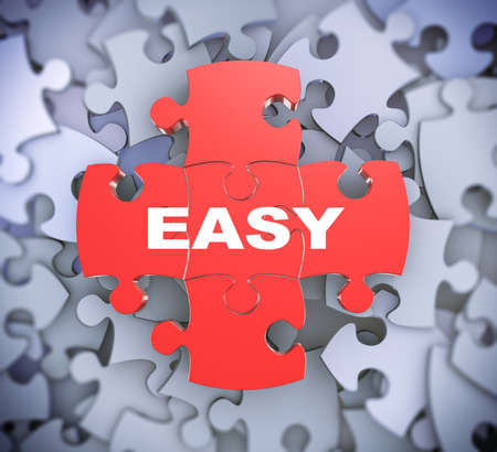 easier: 3d illustration of attached jigsaw puzzle pieces word easy presentation on background of heap of puzzle pieces Stock Photo