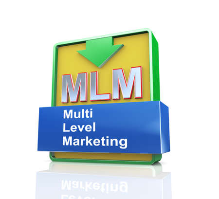 multi level: 3d design illustration presentation of arrow banner of mlm - multi level marketing