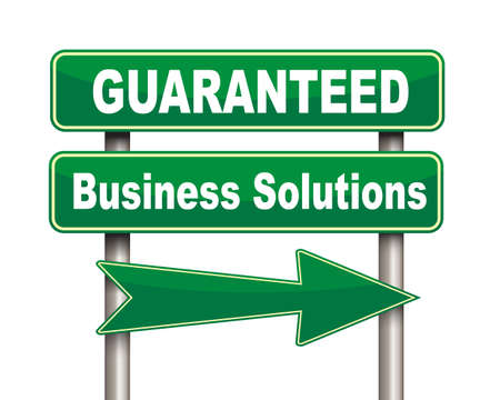 assured: Illustration of green arrow and road sign of guaranteed business solutions concept