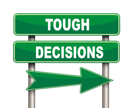 tough: Illustration of green arrow and road sign of tough decisions concept Stock Photo