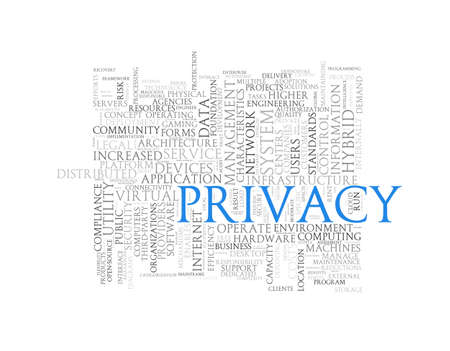 stealing data: Illustration of wordcloud word tags of concept of privacy