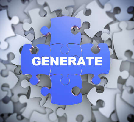 provoke: 3d illustration of attached jigsaw puzzle pieces word generate presentation on background of heap of puzzle pieces Stock Photo