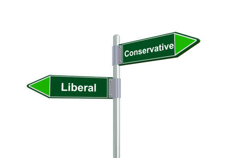 conservative: 3d illustration of  liberal and conservative road sign.