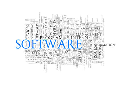 operational: Illustration of wordcloud word tags of concept of software