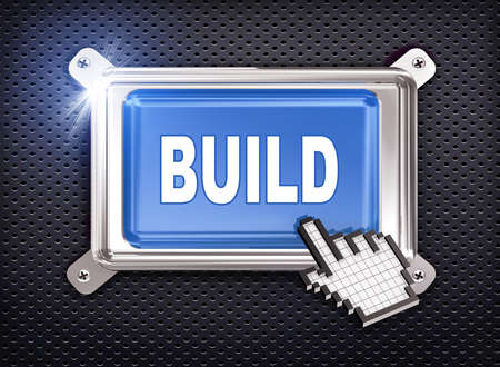 construction project: 3d illustration of hand cursor pointer and chrome button presentation of concept of build