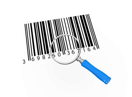 bar codes: 3d illustration of magnifying glass over bar codes Stock Photo