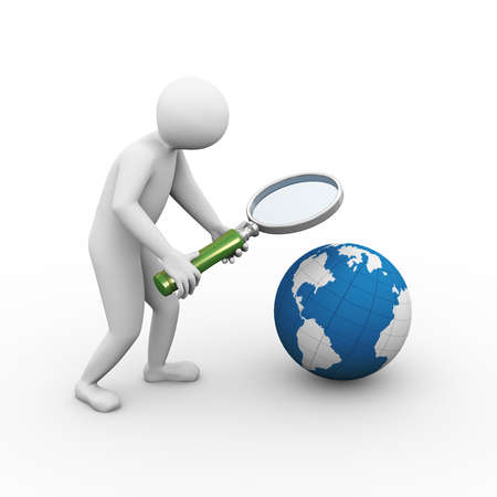 3d illustration of person looking on globe with magnifying glass. 3d human person character and white people