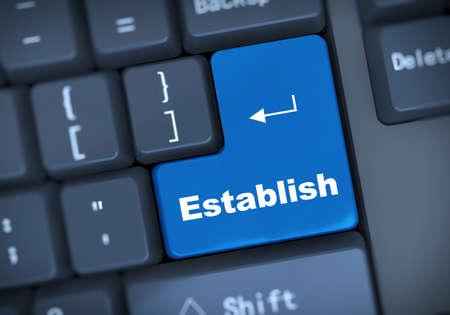 establish: 3d illustration of computer keyboard enter button with word establish