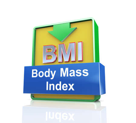 bmi: 3d design illustration presentation of arrow banner of bmi - body mass index