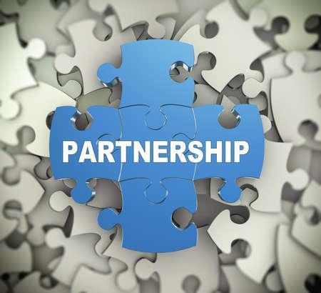 3d illustration de puzzle ci-joint des pièces de puzzle mot présentation partenariat sur fond de tas de pièces de puzzle