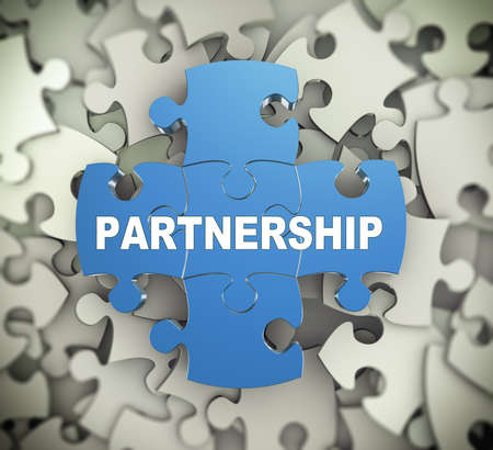 partnership: 3d illustration of attached jigsaw puzzle pieces word patnership  presentation on background of heap of puzzle pieces