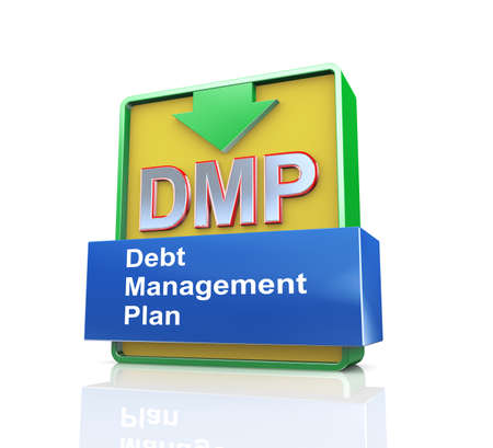 debt management: 3d design illustration presentation of arrow banner of dmp - debt management plan
