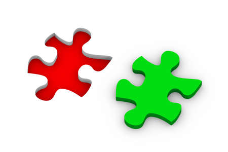 missing link: 3d illustration of puzzle piece. Concept of problem solution, goal achievement, success