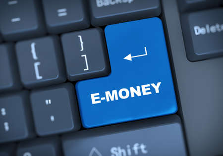 e money: 3d illustration of computer keyboard enter button with word e-money