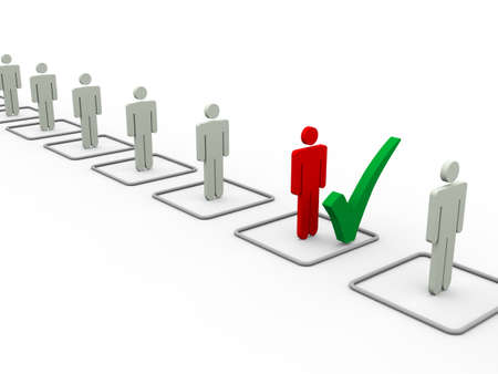 3d illustration of chosen person with check mark from people list Stock Photo