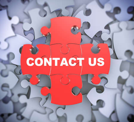 joining services: 3d illustration of attached jigsaw puzzle pieces contact us presentation on background of heap of puzzle pieces