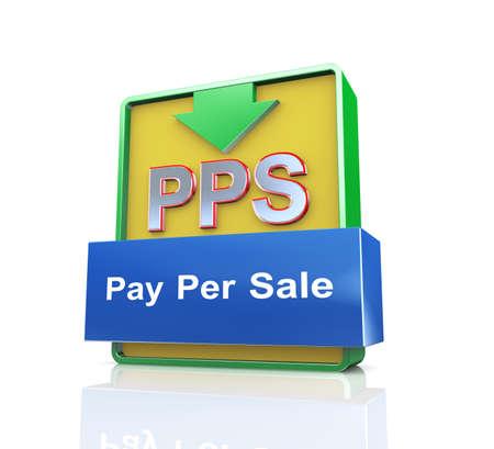 per: 3d design illustration presentation of arrow banner of pps - pay per sale