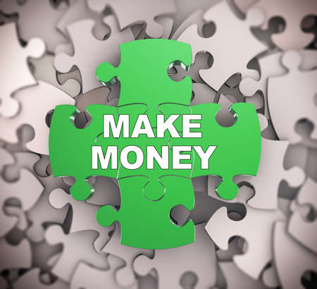acquire: 3d illustration of attached jigsaw puzzle pieces phrase make money presentation on background of heap of puzzle pieces