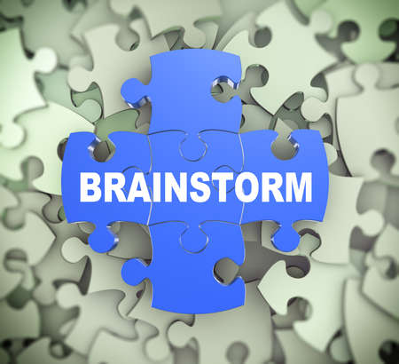 surpassing: 3d illustration of attached jigsaw puzzle pieces word brainstorm presentation on background of heap of puzzle pieces