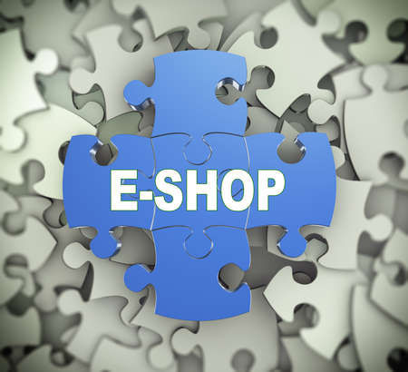 eshop: 3d illustration of attached jigsaw puzzle pieces word e-shop presentation on background of heap of puzzle pieces