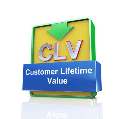 web site: 3d design illustration presentation of arrow banner of clv  - customer lifetime value