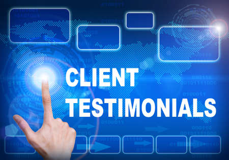 tribute: Human finger pressing high tech glowing modern client testimonials interface touch screen button on abstract blue technology digital background Stock Photo